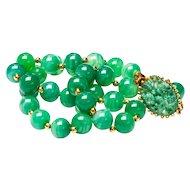 Vintage Joseph Mazer Necklace Peking Glass Necklace Green Bead Necklace