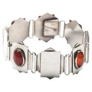 Sterling Art Deco Bracelet Carnelian Bracelet Geometric Bracelet