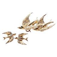 Corocraft Heavenly Swallows Duette Fur Clips Brooch Earrings 1940s