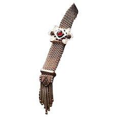 Victorian Gold Filled Mesh Slide Bracelet with Rose cut Garnets