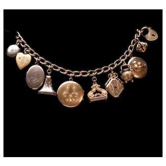 Lockets & Fobs Charm Bracelet Gold filled Bracelet Vintage Charm Bracelet