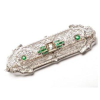 Edwardian 14K White Gold Platinum Emerald Diamond Filigree Hearts & Arrows Bar Pin - Vintage 1900s