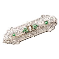 Edwardian 14K White Gold Platinum Emerald Diamond Filigree Hearts & Arrows Bar Pin - Vintage 1900s