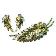Juliana D&E Juliana Feather Brooch Earrings Olivine Feather Brooch Green Feather Brooch
