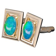 Vintage Gold Filled Black Opal Doublet Cufflinks with Green Flash