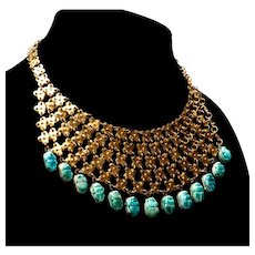 Egyptian Revival Scarab Brass & Turquoise FAIENCE Bib Necklace Original Box