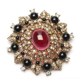Vintage CINER Brooch Red Ruby Glass Cabochon Signed Ciner Brooch