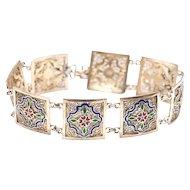 Portuguese Silver Gold Vermeil Art Deco Enamel Bracelet