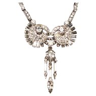 Vintage Bogoff Crystal Rhinestone Drop Dangle Cocktail Necklace.