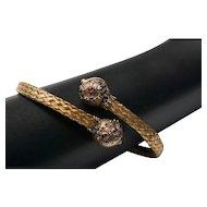 Victorian Etruscan Revival Woven Gilt Bypass Bracelet SMALL