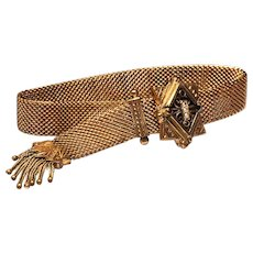 Victorian Gold Filled Mesh Slide Bracelet with Rubies and Seed Pearls