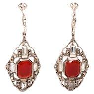 Antique German Carnelian & Marcasite STERLING Art Deco Earrings Signed Sterling Drop Earrings Dangle Earrings Screw on
