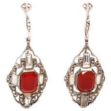 Antique German Carnelian & Marcasite STERLING Art Deco Earrings Signed Sterling Drop Earrings Dangle Earrings Screw on