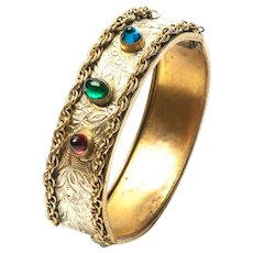 Vintage Art Deco Gold tone Chased Floral Hinged Bangle Bullet Cabochons Red Green Blue