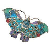 800 Silver Chinese Kingfisher Feather Butterfly Brooch