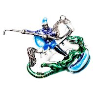 Rare Austro-Hungarian Sterling Silver Enamel St George & Dragon Pendant c1880