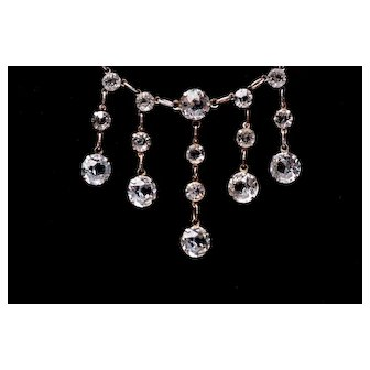 Antique STERLING Edwardian Collet Set Crystal Fringe Necklace