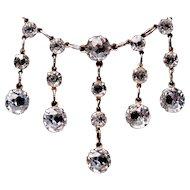 Antique STERLING Edwardian Crystal Fringe Necklace
