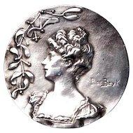 P. De Bryk Art Nouveau Silver Brooch Mistletoe Brooch Lady Brooch F.N.& Co. Fishel Nessler