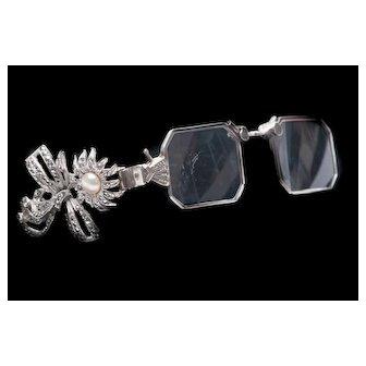 Art Deco Silver Lorgnette Eyeglasses & Lapel Clip Art Deco Lorgnette Rhinestone Lorgnette