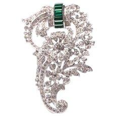 Vintage Crown Trifari Clear Rhinestone & Emerald Green Baguette Flower Fur Clip Brooch Early Alfred Philippe