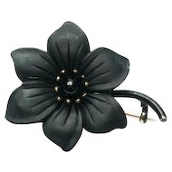Sentimental Victorian Gutta Percha Mourning Brooch with 10K Backing 1870s