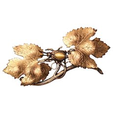 Antique Art Nouveau Gold Gilt Brooch w/ Insect Bug Beetle & Maple leaves Fall Brooch Tiger's Eye Brooch