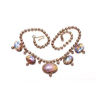 Pink & Black Fire Opal Harlequin Glass Topaz Rhinestone Necklace