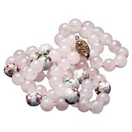 Rose Quartz Beaded Necklace Vintage Chinese Cloisonne Hand Knotted Silver