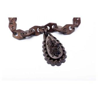 Victorian Gutta-Percha Chain & Rose Mourning Pendant 1880s