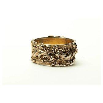 Vintage Art Nouveau Repousse Hinged Cuff Bracelet