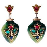 Trifari Moghul Earrings Jade, Gold Flowers and Multicolour Teardrop Cabochons Drop Dangle Earrings