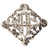 "Vintage Marcasites in STERLING Silver Initials Monogram ""BCA"" Pin Brooch"