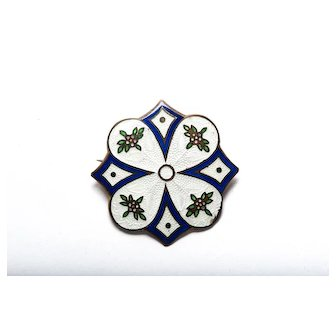 Vintage 1920s Art Deco Basse Taille enamel. Brooch with applied enamel and decorative accents Floral