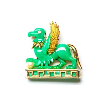Marcel Boucher Egyptian Revival Signed Rare Gryphon Brooch Griffin Brooch Dragon Brooch MB