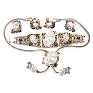 Selro Noh Okina Mask SIX Piece Grand Parure Selro White Devil Mask Necklace, Brooch, Earrings, Ring, Bracelet VHTF SIGNED
