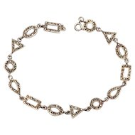 Geometric Art Deco Sterling and Marcasite Link Bracelet
