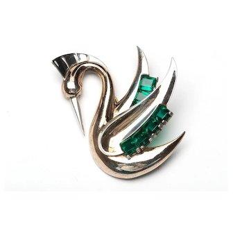 STERLING 3D Marcel Boucher Stylized Swan Brooch Phrygian Cap Designer Signed HTF