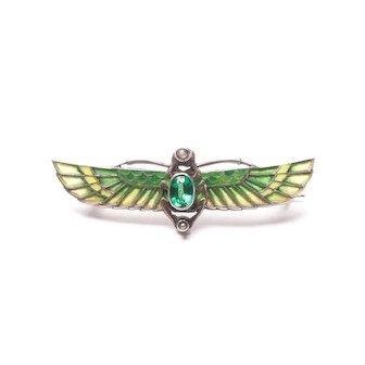 Sterling Silver Art Nouveau Flying Scarab Brooch Plique-à-Jour Brooch Antique Egyptian Brooch