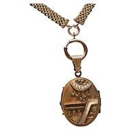 Etruscan Locket Necklace Gold Filled Mesh Watch Chain Large Victorian Locket Gold Filled Locket