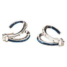 Vintage Blue Trifari Earrings Trifari Sapphire Blue Baguette Hoop Clip Earrings