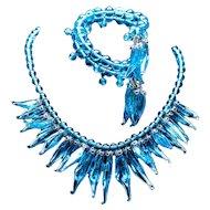 Ice Blue Icicle Drop Necklace & Bracelet Set French Glass Lampwork Glass Necklace French Glass Necklace