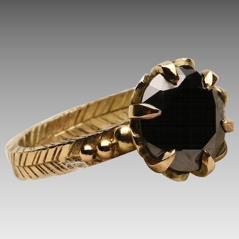 18k Yellow Gold and Black Diamond Engagement Ring