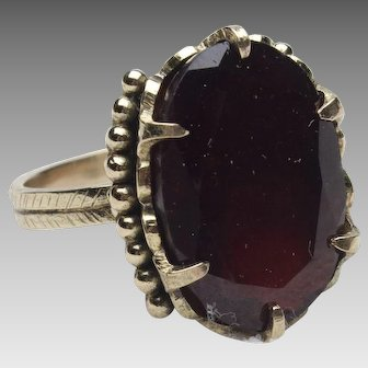 18k Yellow Gold and Flat Cut Garnet Ring