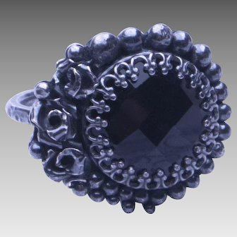 Oxidized Silver and Onyx Cocktail Ring