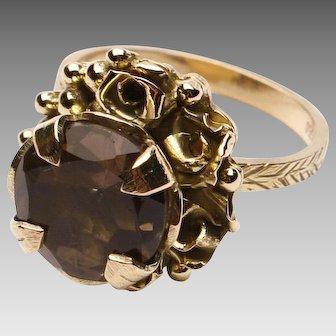 18k Gold and Smoky Quartz Ring