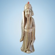 Soapstone Chinese Immortal: Wiseman with Bat