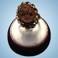 Gold Filled Ring with Cornelian Cameo