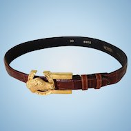 Vicenza Calfskin Belt with Horse Buckle