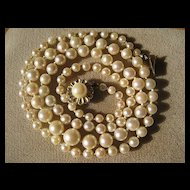 SHOP SPECIAL Vintage Long Strand Cultured Akoya Pearl Necklace with Gold 14K Gold Clasp EGL Certification Included